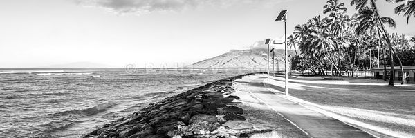 Maui Kalama Park Hawaii Black and White Panorama Photo