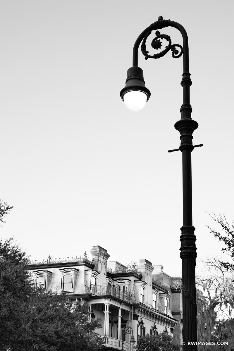 STREET LAMP EVENING HISTORIC SAVANNAH GEORGIA BLACK AND WHITE