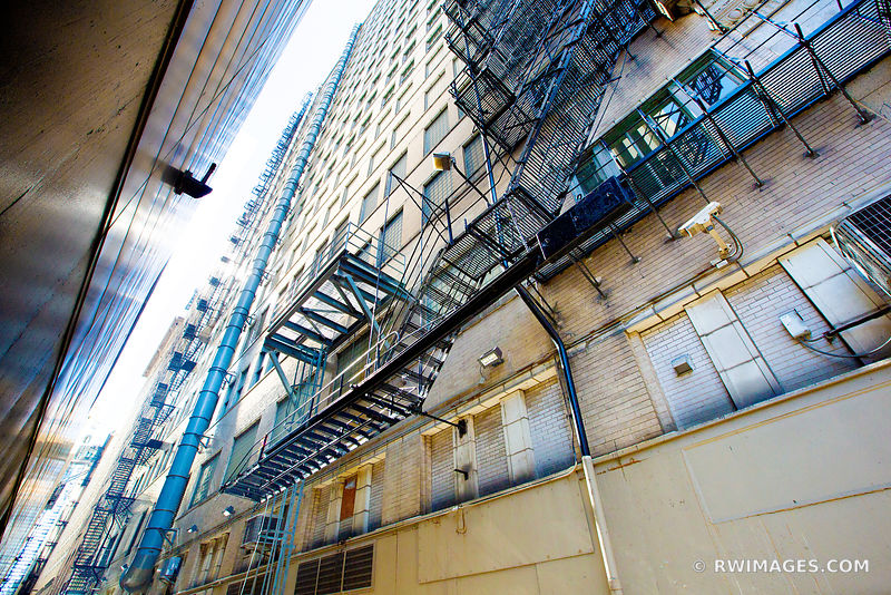 CHICAGO INDUSTRIAL COLLECTION | CHICAGO DOWNTOWN ALLEY FIRE ESCAPE CHICAGO ILLINOIS COLOR