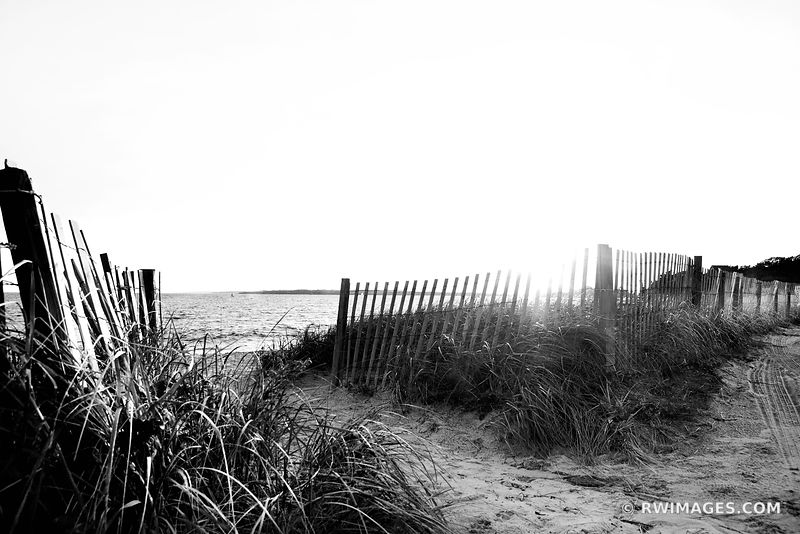 SUNSET BEACH FENCE FALMOUTH MASSACHUSETTS BLACK AND WHITE