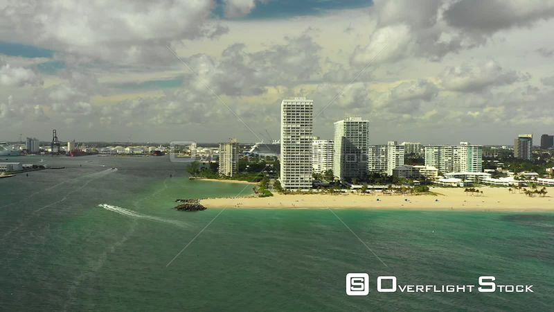 Off Shore Footage of Fort Lauderdale Beachfront Resorts and Condos Florida