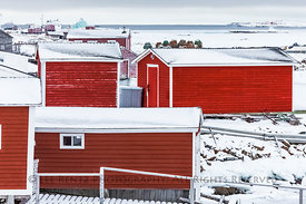 Stages on the Waterfront of Fogo Island, Newfoundland