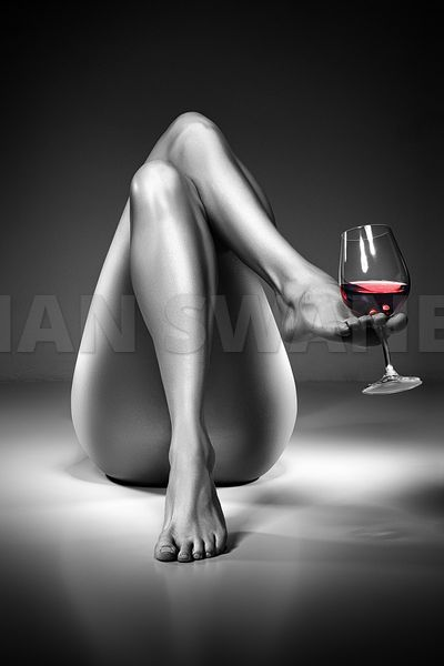 Nude woman red wine 4