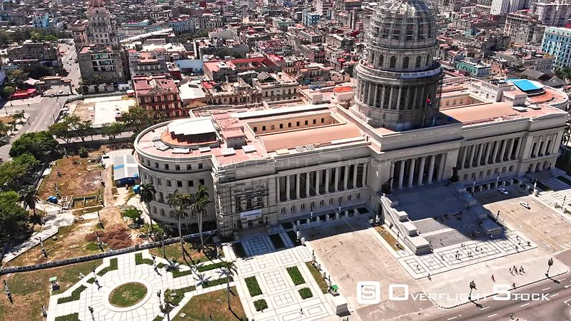 Cuba Havana Birdseye cityscape view looking far moving to almost vertical detail of Capitol building