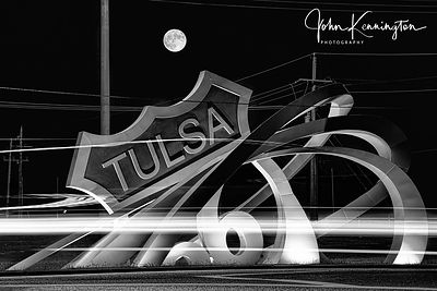 Moon Rising Over Tulsa Route 66 Rising Monument (BW), Tulsa, Oklahoma