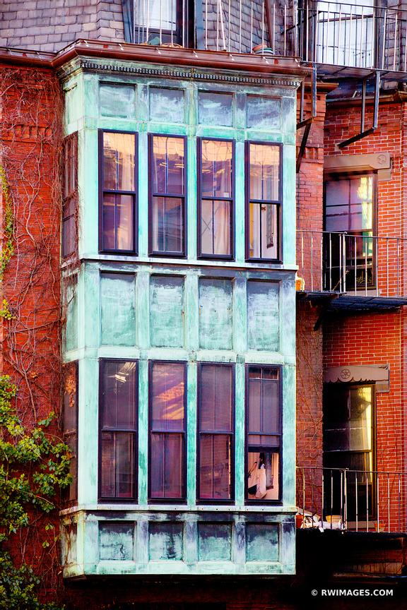 HISTORIC BOSTON ARCHITECTURE RED BRICK BUILDING FACADE OLD WINDOWS VERTICAL