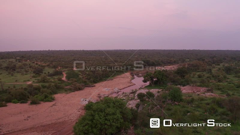 A Fly Over a Near Dry River Bed in Greater Kruger National Park in South Africa.