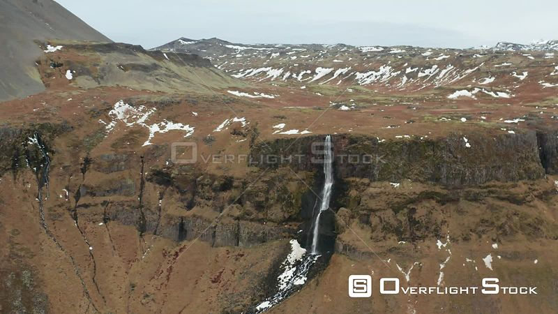 Flying Towards a Waterfall Over a Cliff in Iceland.