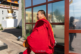 A monk at Gandantegchinlen Monastery, Monglia's largest functioning Buddhist monastery in Ulaanbaatar.  The Tibetan name tran...