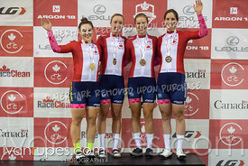 Women Team Pursuit Podium. Canadian Track Championships, September 26, 2019