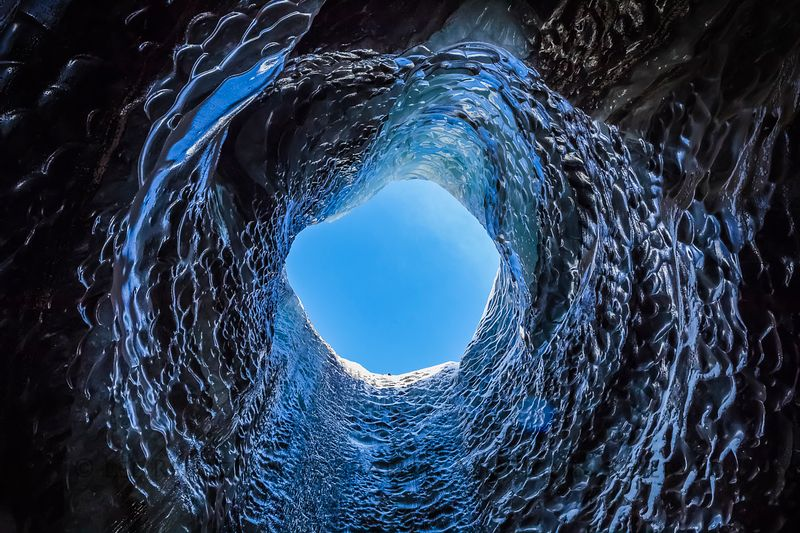 Inside an ice cave in Myrdalsjokull Glacier in Iceland