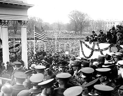 Franklin Roosevelt First Inaguration:  Crowd outside U.S. Capitol, Washington, D.C.  March 4, 1933