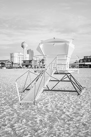 Pensacola Beach Lifeguard Tower Two Black and White Photo