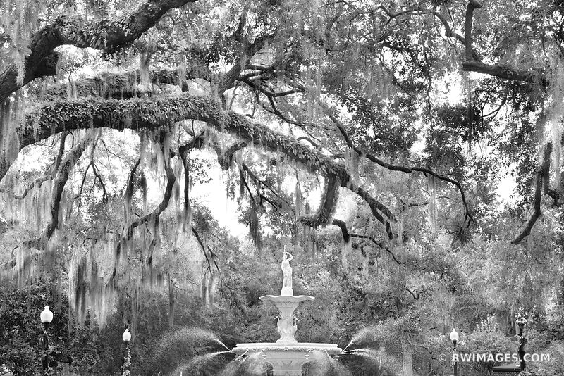 FORSYTH PARK FOUNTAIN SAVANNAH GEORGIA BLACK AND WHITE
