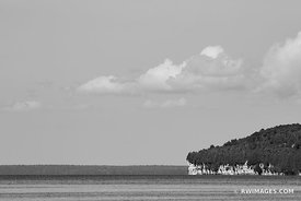ROCK ISLAND STATE PARK FROM WASHINGTON ISLAND DOOR COUNTY WISCONSIN BLACK AND WHITE