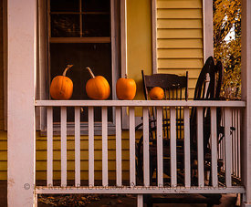 Front Porch and Pumpkins in Indiana