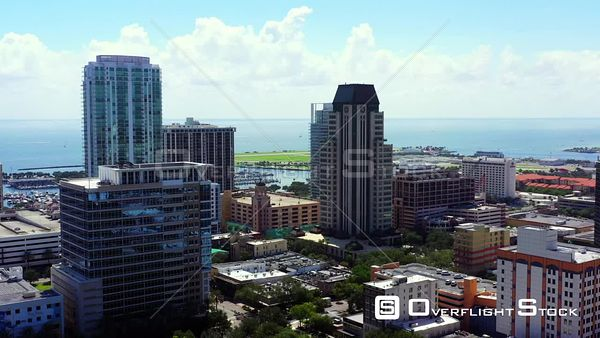Aerial video towers at Downtown St Petersburg FL USA