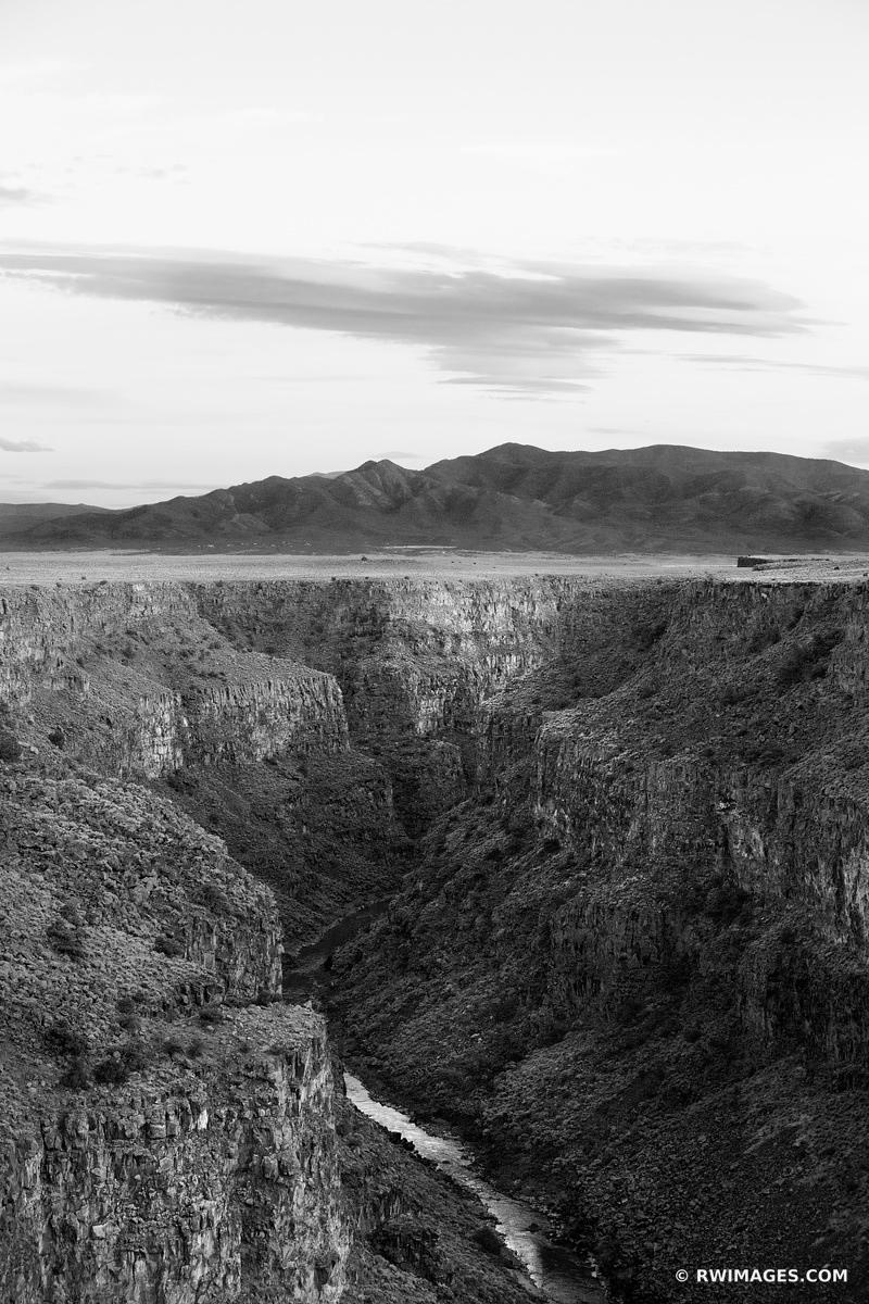 RIO GRANDE GORGE NEAR TAOS NEW MEXICO BLACK AND WHITE VERTICAL AMERICAN SOUTHWEST LANDSCAPE