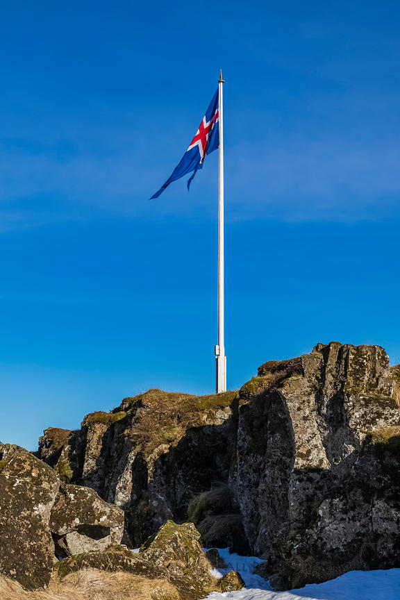 Icelandic Flag in Thingvellir National Park in Iceland