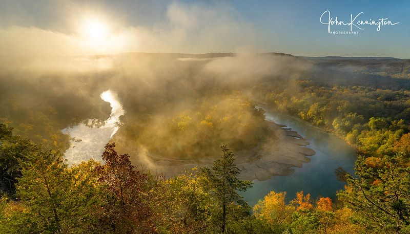 Sunrise at Red Bluff Overlook Panoramic, Buffalo River, Arkansas