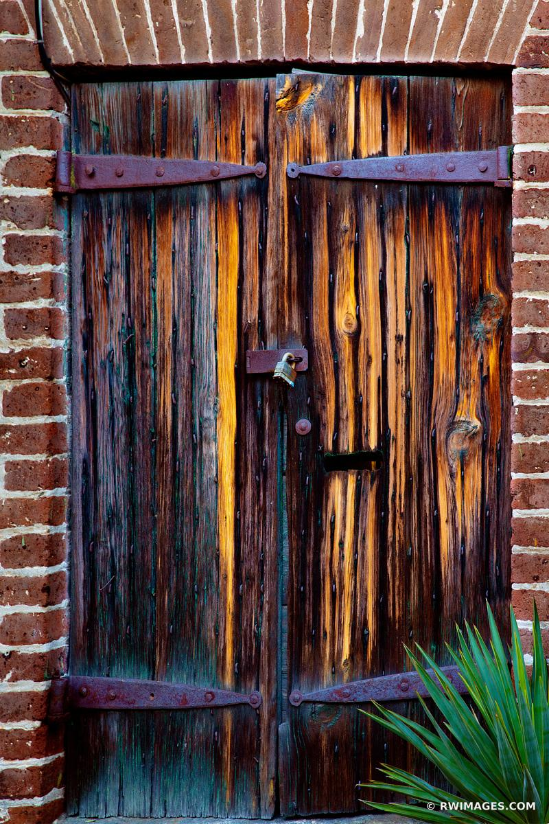 OLD WOODEN DOOR RIVERWALK AREA HISTORIC SAVANNAH GEORGIA
