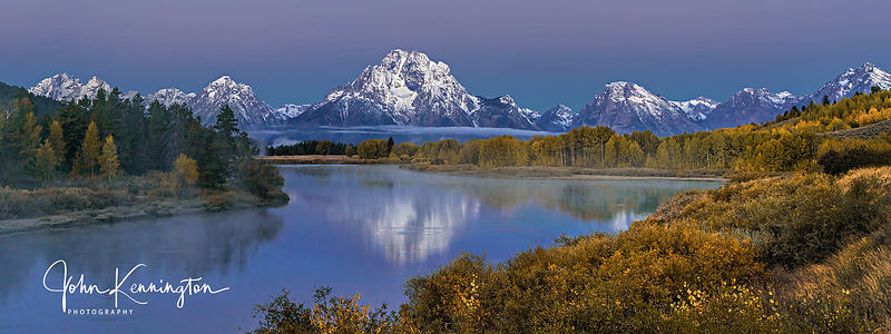 Morning Light at Oxbow Bend Panoramic, Grand Teton National Park, Wyoming