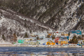 Colorful Houses and Sea Ice at the Grey River Outport in Newfoundland