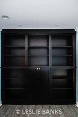 Empty Bookcase in a Remodeled Library