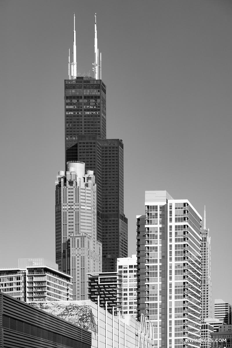 WILLIS TOWER CHICAGO ILLINOIS BLACK AND WHITE VERTICAL