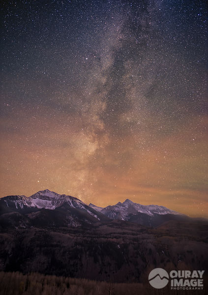 Milky Way appears during dusk at Wilson Peak and Sunshine Mountain