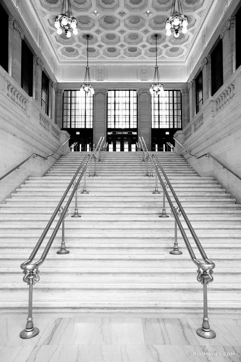 HISTORIC UNION STATION BUILDING INTERIOR CHICAGO ILLINOIS BLACK AND WHITE VERTICAL