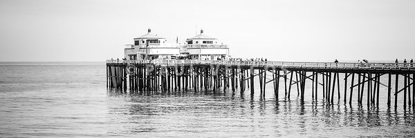 Malibu Pier Black and White Panorama Photo