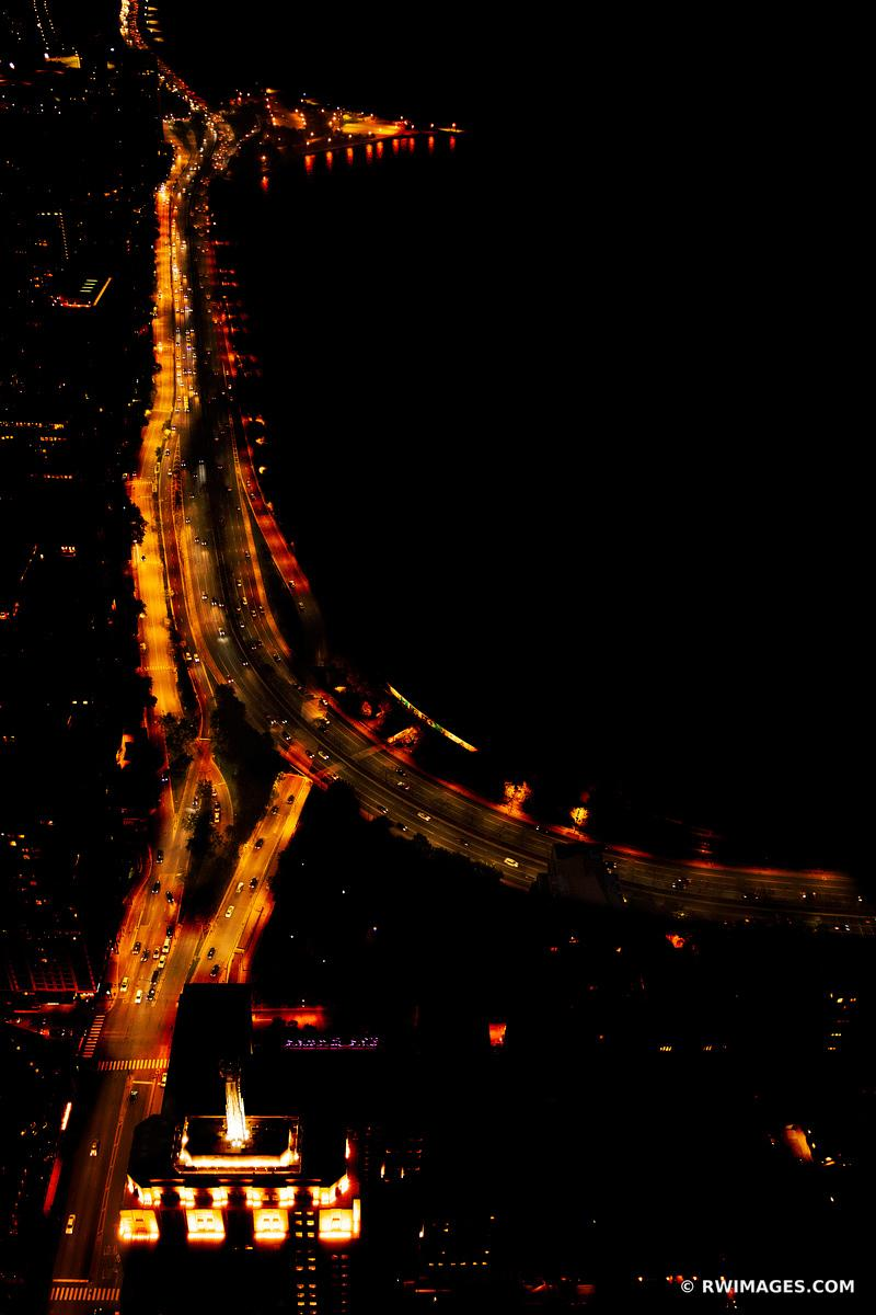 LAKE SHORE DRIVE AT NIGHT CHICAGO DOWNTOWN AERIAL VIEW CHICAGO ILLINOIS COLOR VERTICAL