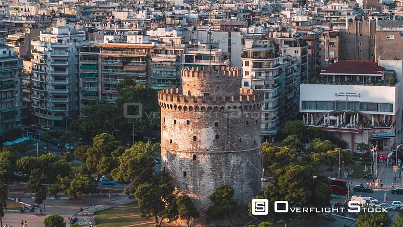Drone Video White Tower of Thessaloniki Greece. Ottoman Fortress and Former Prison
