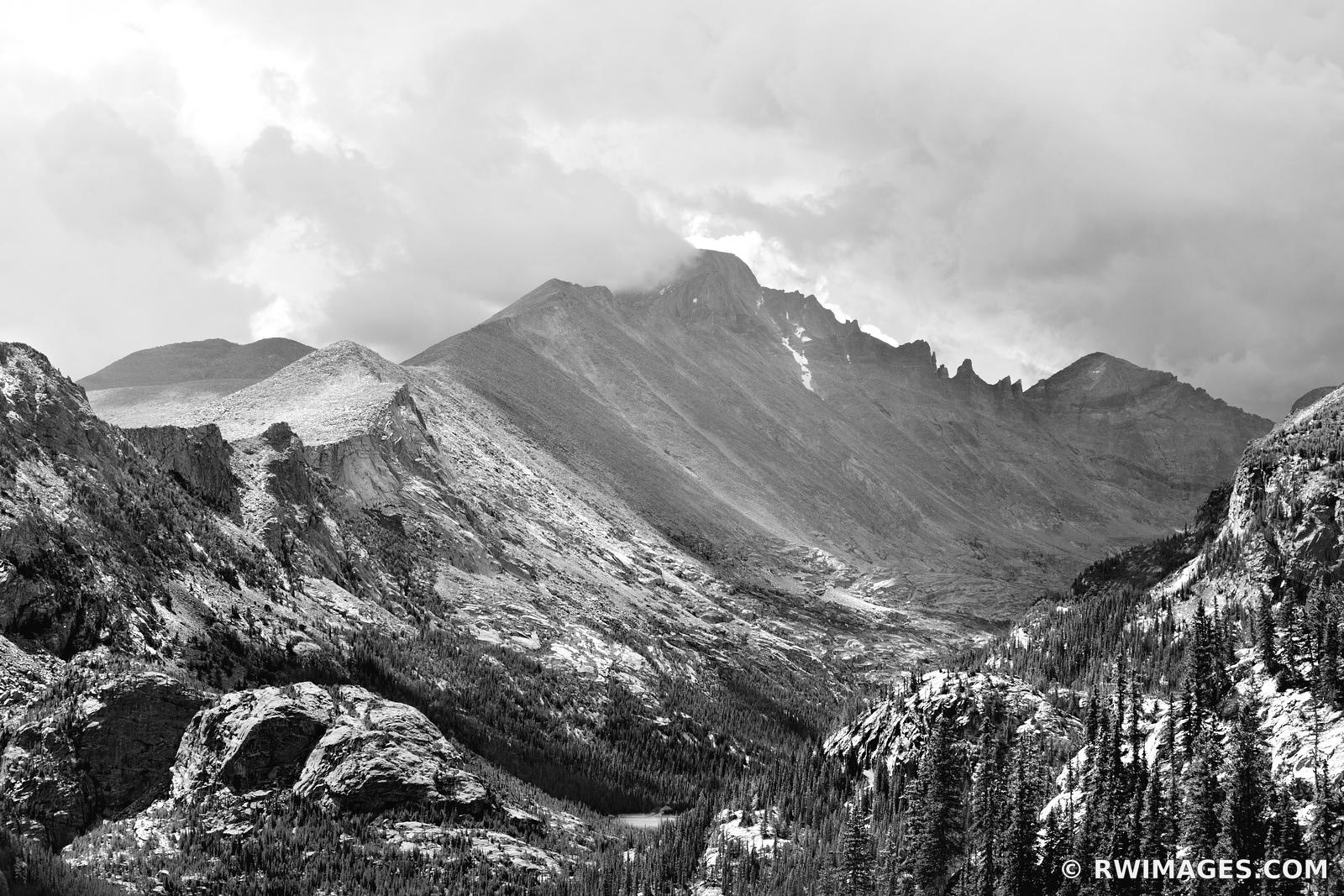VIEW FROM GLACIER GORGE TRAIL ROCKY MOUNTAIN NATIONAL PARK COLORADO BLACK AND WHITE