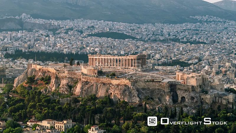 Drone Video Cityscape and Parthenon Athens Greece