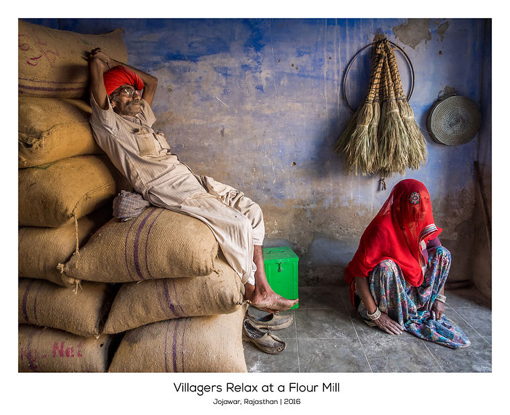 Villagers Rest at a Flour Mill