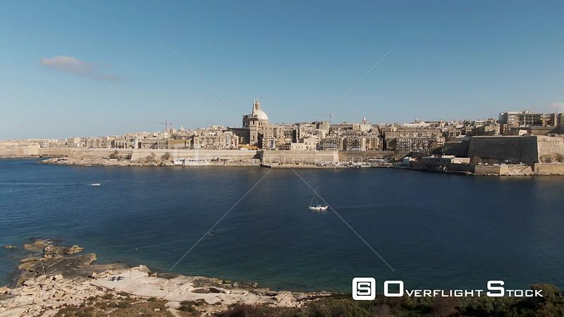 Aerial descending view of Valletta, the capital of Malta, from Manoel island