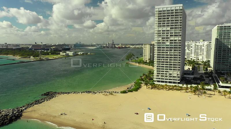 Aerial Pull Out Reveal Fort Lauderdale Beach Port Everglades Inlet 4k Florida