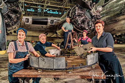 Rosie the Riveters Working on a B-17 at the Willow Run Bomber Plant No. 1, Belleville, Michigan