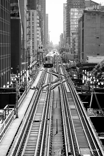 EL TRAIN DOWNTOWN CHICAGO ILLINOIS BLACK AND WHITE VERTICAL