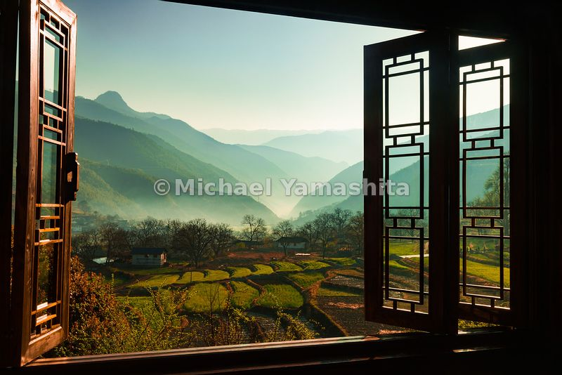 Upfront portfolio pic; Shangrila and Beyond -- The view from Songtsam Lodge in Tacheng, overlooks terraced rice paddies. The ...