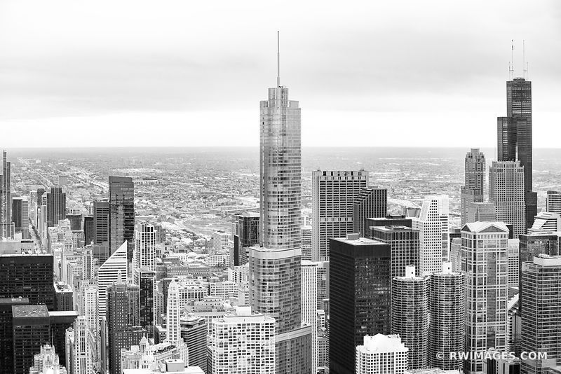 SEARS WILLIS TOWER AND TRUMP TOWER CHICAGO DOWNTOWN AERIAL VIEW CHICAGO ILLINOIS BLACK AND WHITE