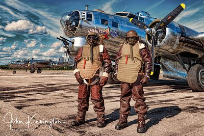 Crew In Leathers For A Mission On The B-17 Yankee Lady, Yankee Air Museum, Michigan