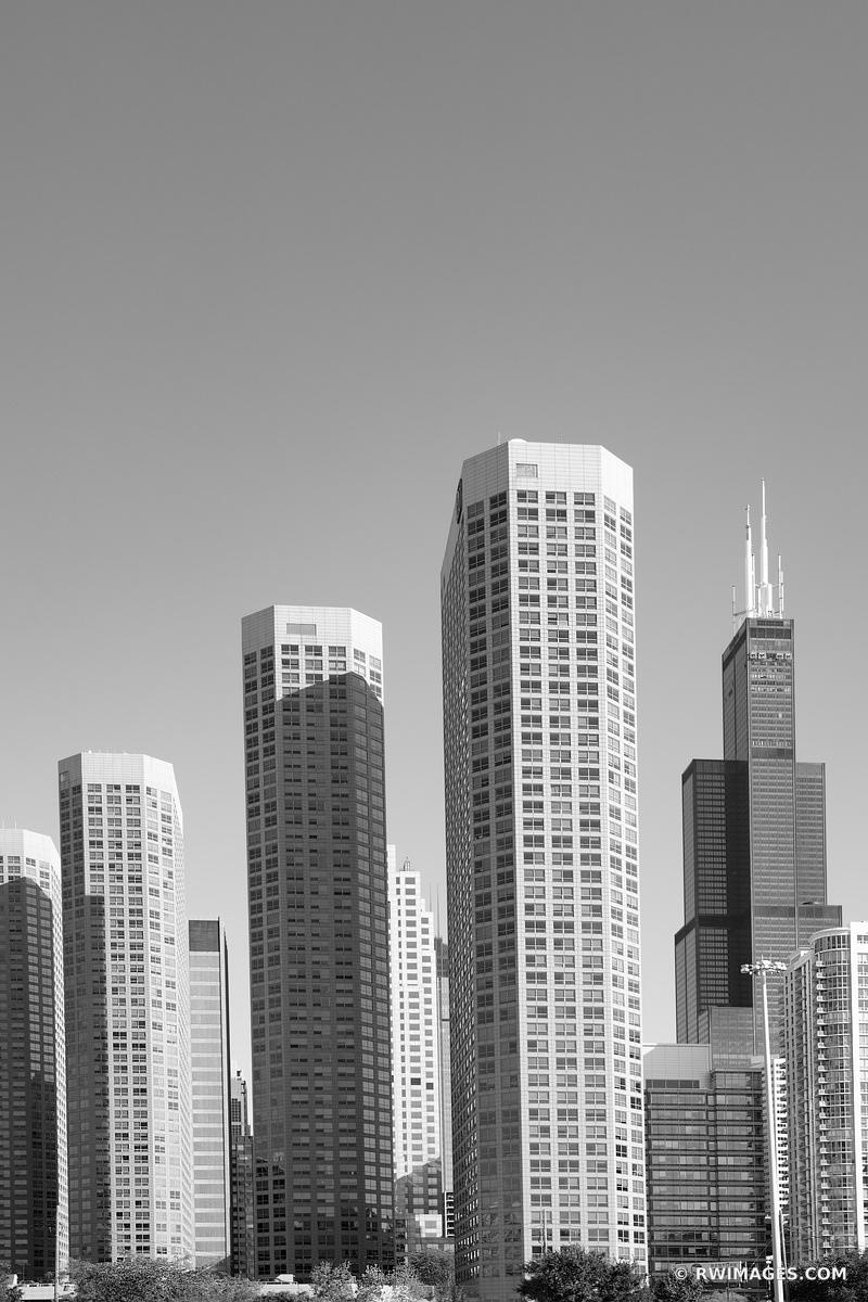 HIGH RISES AND WILLIS TOWER CHICAGO ILLINOIS BLACK AND WHITE VERTICAL