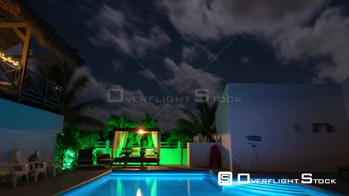 Night Sky Time Lapse Time lapse of night sky above pool detail