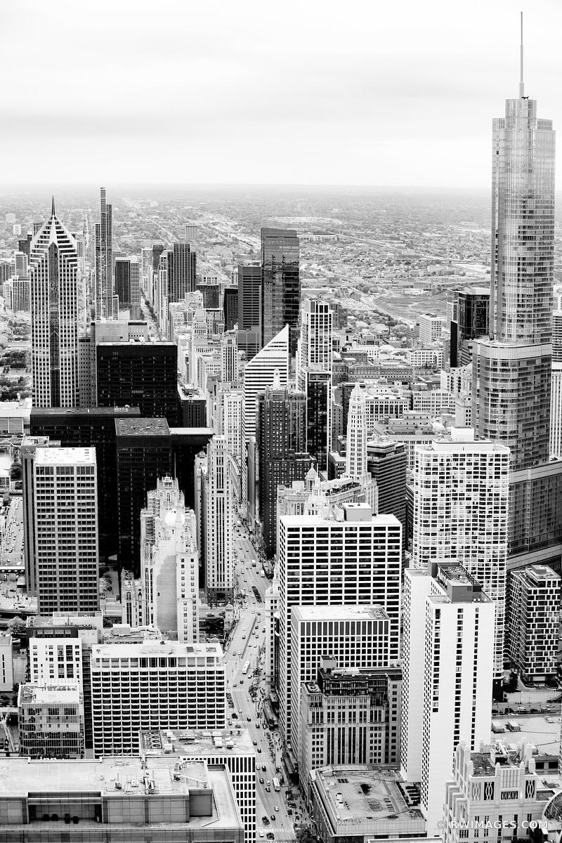 CHICAGO DOWNTOWN AERIAL VIEW CHICAGO ILLINOIS BLACK AND WHITE VERTICAL