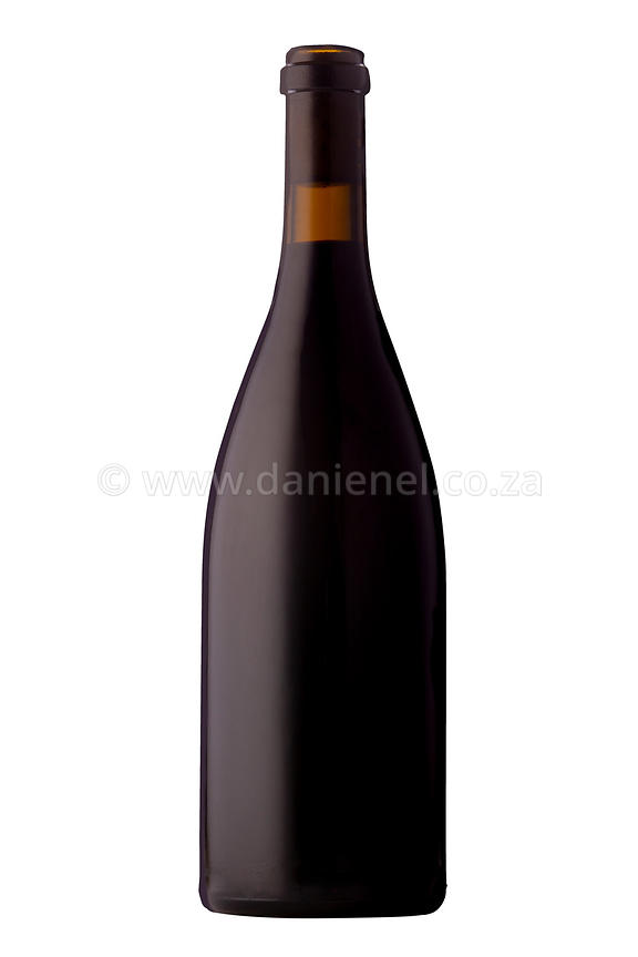 A bottle of red wine with no label