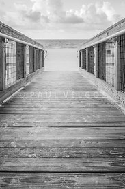 Pensacola Casino Beach Boardwalk Black and White Photo