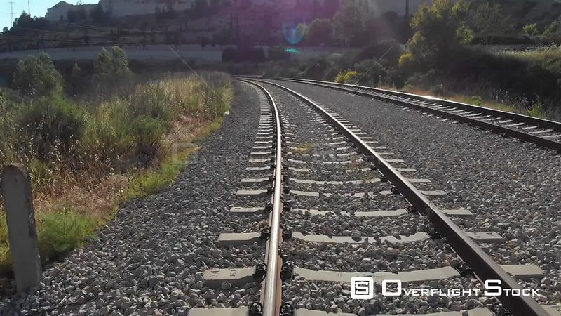 Flying over train rails. Israel